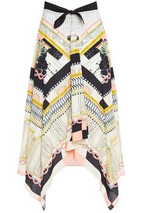 TEMPERLEY LONDON Obelisk bow-detailed printed woven skirt