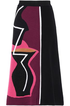 ROKSANDA Color-block jacquard-knit midi skirt