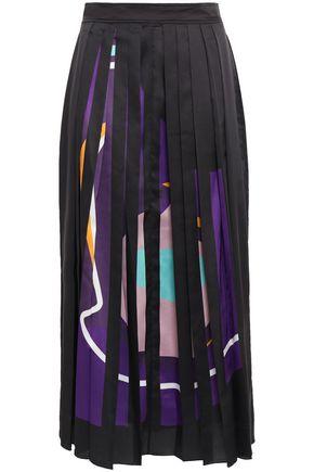 ROKSANDA Pleated printed crepe de chine midi skirt