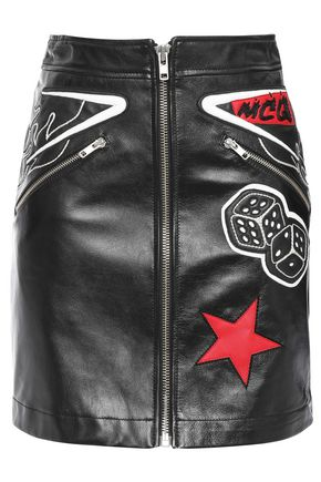 McQ Alexander McQueen Appliquéd zip-detailed leather mini skirt