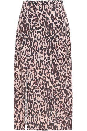 LILY AND LIONEL Leopard-print crepe de chine midi skirt