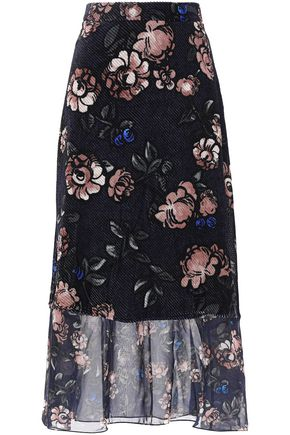 MARKUS LUPFER Floral-print devoré-chiffon midi skirt