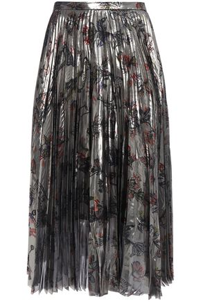 MARKUS LUPFER Hailey pleated floral-print silk-blend lamé midi skirt