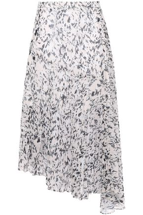 MARKUS LUPFER Pleated printed georgette midi skirt
