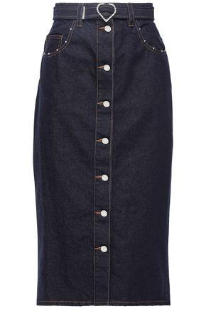MARKUS LUPFER Cleo crystal-embellished studded denim pencil skirt