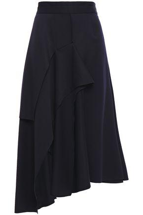 CHALAYAN تنورة متوسطة الطول غير متماثلة وبتصميم منسدل من التويل الصوفي