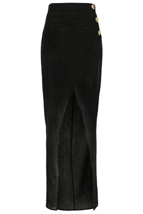 BALMAIN Wrap-effect button-embellished crocheted maxi skirt
