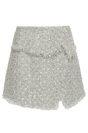 BALMAIN Sequin-embellished bouclé-tweed mini skirt
