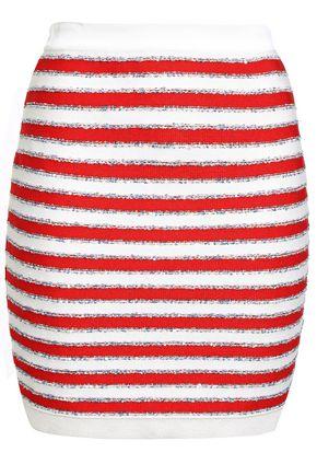 BALMAIN Sequin-embellished striped knitted mini skirt