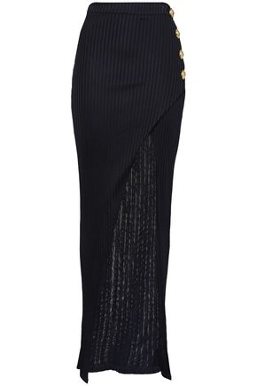 BALMAIN Button-embellished jersey maxi skirt