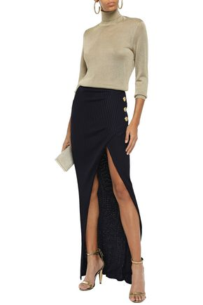 Balmain Wrap-effect Button-embellished Ribbed-knit Maxi Skirt In Midnight Blue