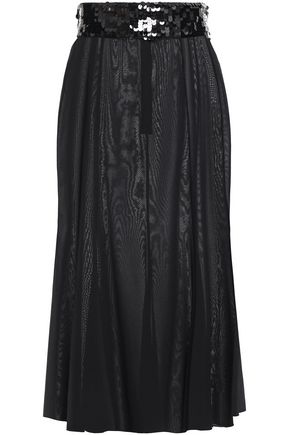 DOLCE & GABBANA Sequin-trimmed silk-blend moiré skirt