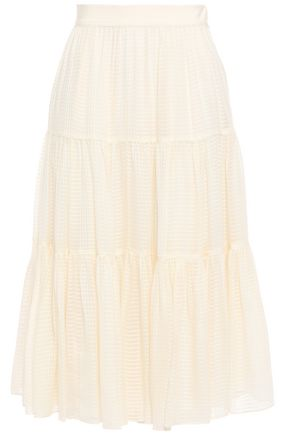 TORY BURCH Embroidered silk-chiffon midi skirt