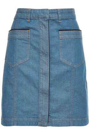 VICTORIA, VICTORIA BECKHAM Grosgrain-trimmed denim mini skirt