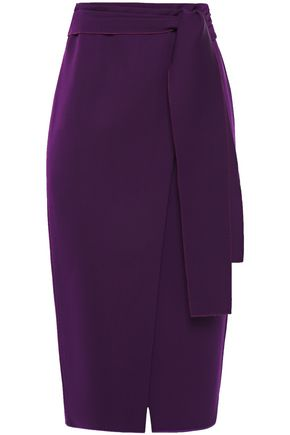 ROCHAS Wrap-effect knotted wool-twill pencil skirt