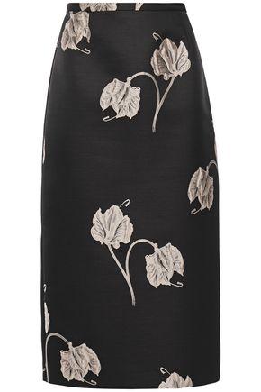 ROCHAS تنورة ضيقة متوسطة الطول من الجاكار بنقش الورود