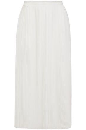 NINA RICCI Pleated textured-crepe midi skirt