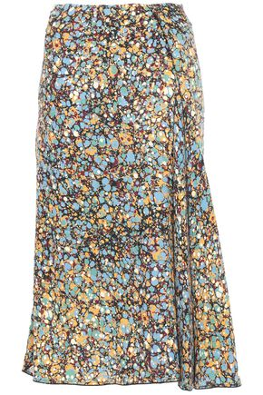 VICTORIA BECKHAM Asymmetric pleated printed crepe skirt
