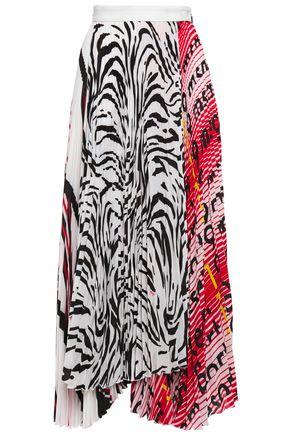 MSGM Asymmetric pleated printed crepe de chine maxi skirt