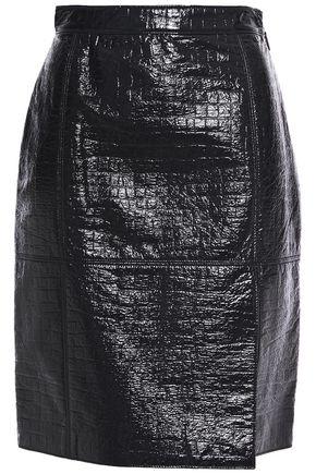 MSGM تنورة قصيرة من الجلد اللامع الاصطناعي بنقش جلد التمساح