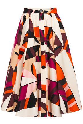 MSGM Gathered printed cotton-twill midi skirt