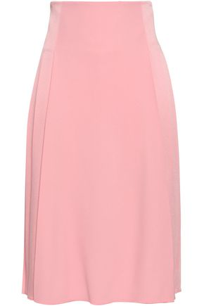 VICTORIA BECKHAM Pleated satin-crepe skirt