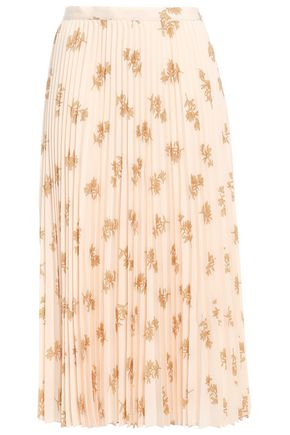 JOIE Pleated floral-print crepe de chine midi skirt