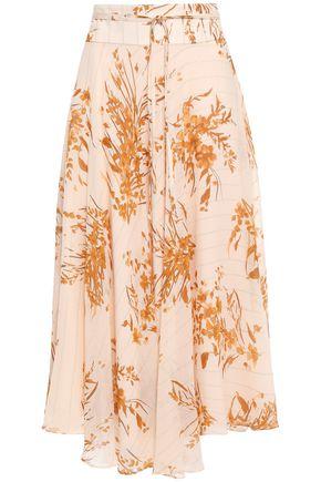 JOIE Asymmetric metallic-trimmed floral-print silk-blend georgette midi skirt