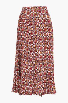 VICTORIA BECKHAM تنورة متوسطة الطول من قماش جورجيت الحريري المطبع برسومات مع طيات