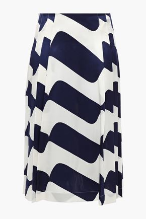 VICTORIA BECKHAM Pleated printed silk-satin skirt