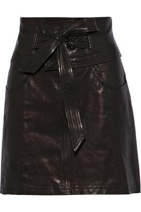 REBECCA MINKOFF Callie belted textured-leather mini skirt