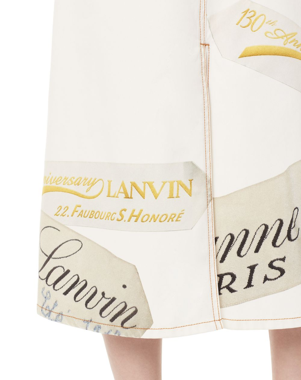 130 YEARS LANVIN LABEL PRINT DENIM MIDI SKIRT - Lanvin