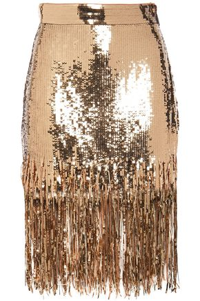 MSGM Fringe-trimmed sequined georgette pencil skirt
