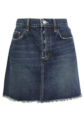 CURRENT/ELLIOTT The Exposed Fly distressed denim mini skirt
