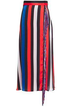 MSGM تنورة متوسطة الطول بتصميم ملتفّ من قماش كريب دي شين المخطط مزينة بأشرطة