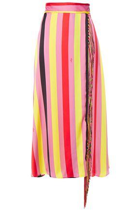 MSGM Wrap-effect fringe-trimmed striped crepe de chine midi skirt