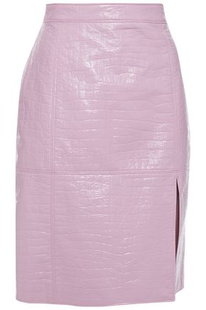 MSGM Faux croc-effect patent-leather mini skirt
