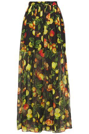 MSGM Layered printed chiffon maxi skirt