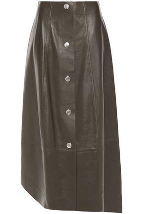 VICTORIA BECKHAM アシンメトリー スナップボタン付き レザー ミディスカート