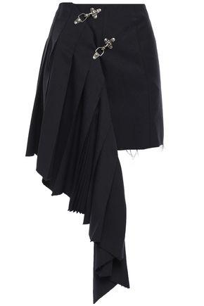 ROKH Embellished frayed pleated gabardine mini skirt