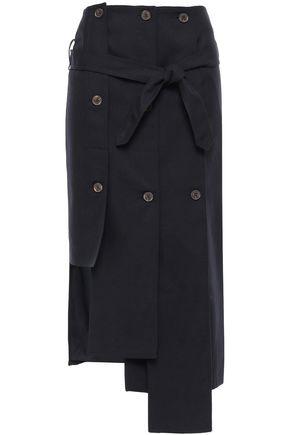 ROKH تنورة غير متماثلة من الغبردين مزينة بأزرار