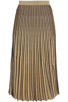 PROENZA SCHOULER Pleated metallic stretch-knit midi skirt