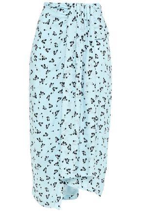 PAPER London Asymmetric draped printed crepe de chine midi skirt