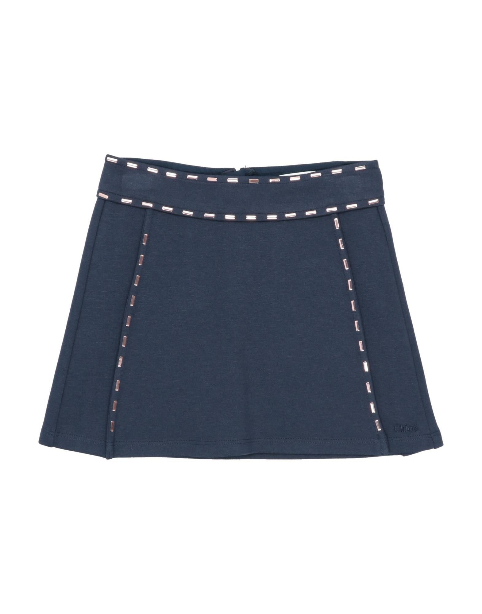 CHLOÉ Skirts. jersey, metal applications, logo, solid color, no pockets, rear closure, zipper closure, wash at 30degree c, do not dry clean, iron at 110degree c max, do not bleach, do not tumble dry, unlined, stretch, large sized. 41% Cotton, 41% Modal, 10% Elastane, 8% Polyamide