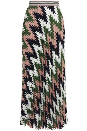 M MISSONI Pleated printed crepe de chine maxi skirt