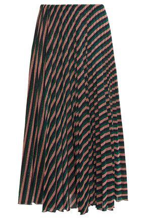 M MISSONI Pleated metallic striped knitted midi skirt