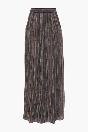 M MISSONI Ribbed metallic crochet-knit maxi skirt