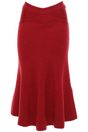 VICTORIA BECKHAM Fluted ruffled ribbed wool midi skirt