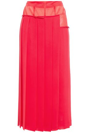 VICTORIA BECKHAM Paneled organza and georgette midi skirt