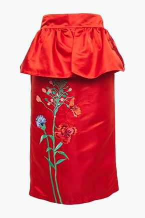 JOHANNA ORTIZ Constantina embellished duchesse-satin peplum midi skirt